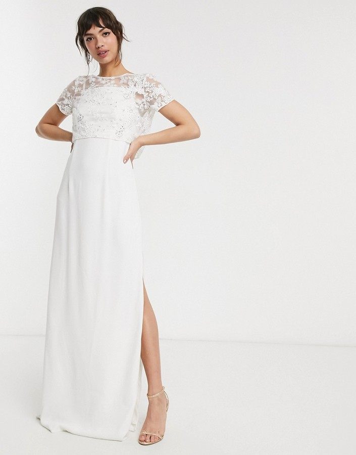 French Connection bridal isla embellished column dress