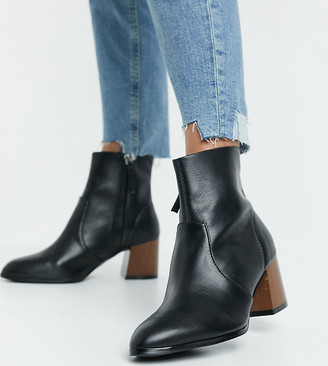 ASOS DESIGN Wide Fit Reporter heeled boots with flared wooden heel in black