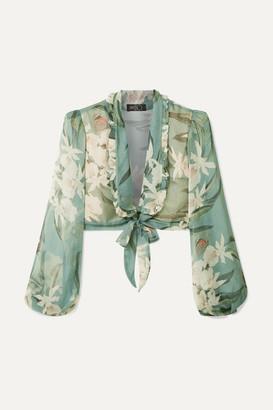 PatBO Cropped Tie-front Printed Georgette Top - Jade
