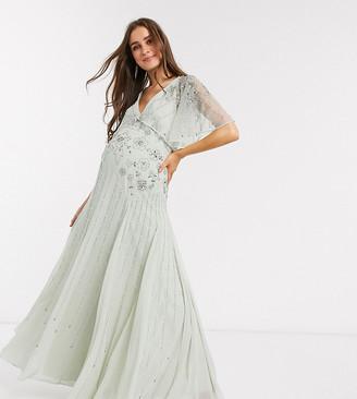 ASOS DESIGN Maternity floral embellished cape maxi dress in mint