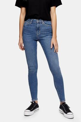 Topshop Womens Mid Blue Abraided Hem Jamie Skinny Jeans - Mid Stone