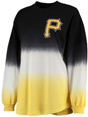 Fanatics Women's Black Pittsburgh Pirates Oversized Long Sleeve Ombre Spirit Jersey T-Shirt