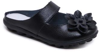 Rumour Has It Women's Mules Black - Black Floral Strappy Leather Mule - Women