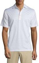 Peter Millar Subconscious Thin-Stripe Short-Sleeve Knit Polo Shirt, White