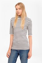 French Connection Duty Striped Polo Neck Top