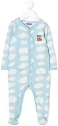 MOSCHINO BAMBINO Cloud Print Teddy Bear Patch Pajamas