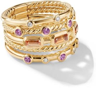 David Yurman 18kt yellow gold Novella Apessartite garnet, sapphire and diamond stack ring