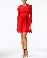 GUESS Illusion Lace Open-Back Fit & Flare Dress
