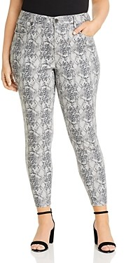 Seven7 Jeans Plus High-Rise Skinny Jeans in Gray Python
