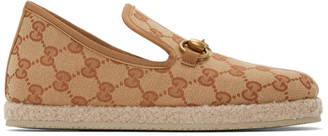 Gucci Beige and Brown GG Fria Loafers
