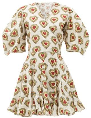 Rhode Resort Rosie Heart-print Puff-sleeve Cotton Dress - White Print