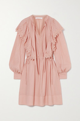 See by Chloe Ruffled Lace-trimmed Cotton Mini Dress - Blush