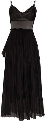 Vika Gazinskaya Sheer Pleated Flared Dress