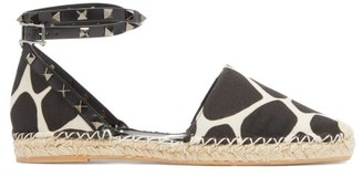 Valentino Rockstud 1966 Giraffe-print Wraparound Espadrilles - Black White