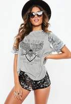 Missguided Silver Sequin Sleeve Cowl Cut Out Back Graphic T Shirt