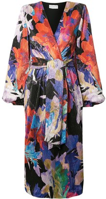 Rebecca Vallance Belladonna abstract-print tie-waist midi dress