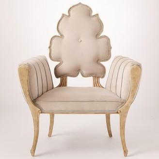"Global Views Wiggle 33"" W Velvet Armchair Fabric: Pearl"