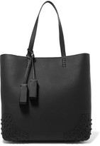Tod's Wave Studded Textured-leather Tote - Black