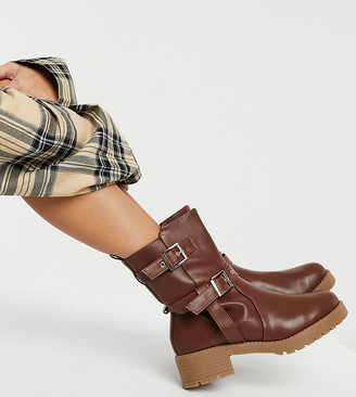 ASOS DESIGN Wide Fit Asha pull on trucker boots in tan