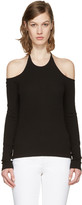 Rosetta Getty Black Off-the-shoulder Halter T-shirt