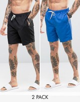 Asos Swim Shorts 2 Pack In Blue And Black In Mid Length