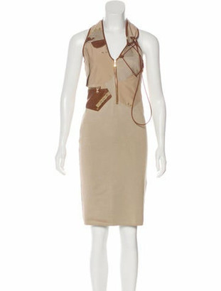 Ralph Lauren Purple Label Leather-Trimmed Knit Dress w/ Tags brown