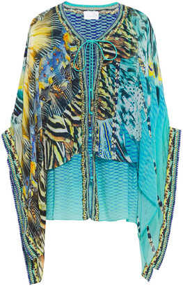 Camilla Layered Crystal-embellished Printed Georgette And Silk Crepe De Chine Top