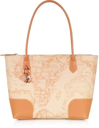 Alviero Martini Geo Pesca Coated Canvas & Leather Shopping Bag