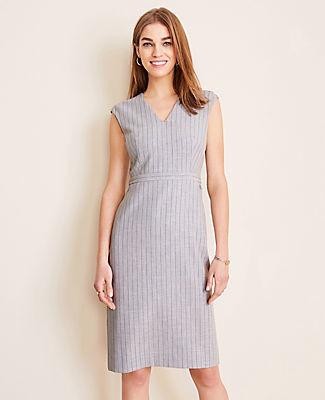 Ann Taylor The V-Neck Dress In Pinstripe Bi-Stretch