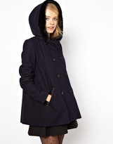 Asos Hooded A-Line Duffle Coat With Faux Fur Trim Hood - Green