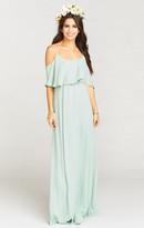 MUMU Caitlin Ruffle Maxi Dress ~ Dusty Mint Crisp