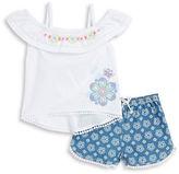 Flapdoodles Girls 2-6x Little Girls Embroidered Cold-Shoulder Top and Denim Shorts Set