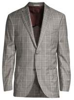 Luciano Barbera Windowpane Wool Soft Jacket