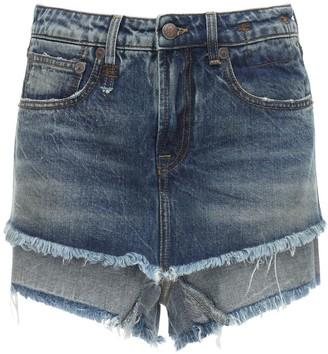 R 13 Double Layer Cotton Denim Shorts