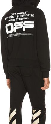 Off-White Wavy Line Logo Slim Zip Hoodie in Black & White | FWRD