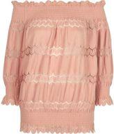 River Island Womens Light pink lace panel shirred bardot top