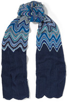 Missoni Crochet-knit Scarf - Bright blue