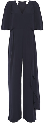 Halston Cutout Draped Crepe De Chine Jumpsuit
