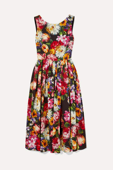 Dolce & Gabbana Pleated Floral-print Cotton Dress - Black