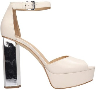 Michael Kors Petra Platform Sandals In Beige Leather