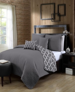Avondale Manor Griffin 5-Pc. King Solid with Quatrafoil Reversible Quilt Set