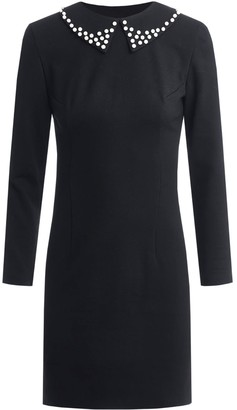 Little Black Dress Removable Collar Embellished With Pearls