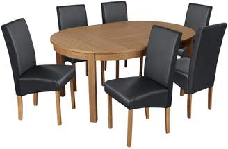 Argos Home Clifton Oak Extending Round Table & 6 Black Chair