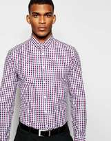 Asos Smart Shirt In Long Sleeve With Gingham Check - Navy