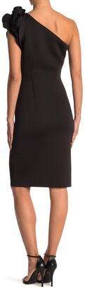 Eliza J Rosette One Shoulder Scuba Sheath Dress