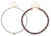 Women's 2 Piece Choker Set with Faux Suede -Brown