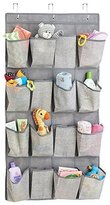 MetroDecor mDesign Fabric Baby Nursery Closet Organizer for Stuffed Animals, Toys, Wipes - Over Door