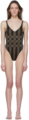 Fendi Brown Forever Stripe One-Piece Swimsuit