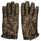 Fendi Zucca Leather-Trimmed Gloves