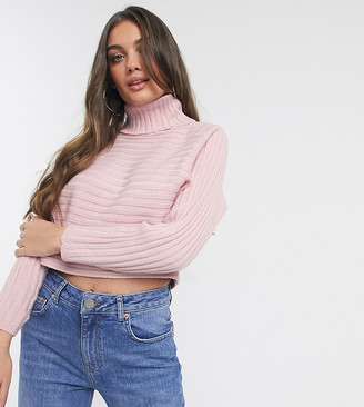 New Look Petite cropped roll neck jumper in pale pink-Beige